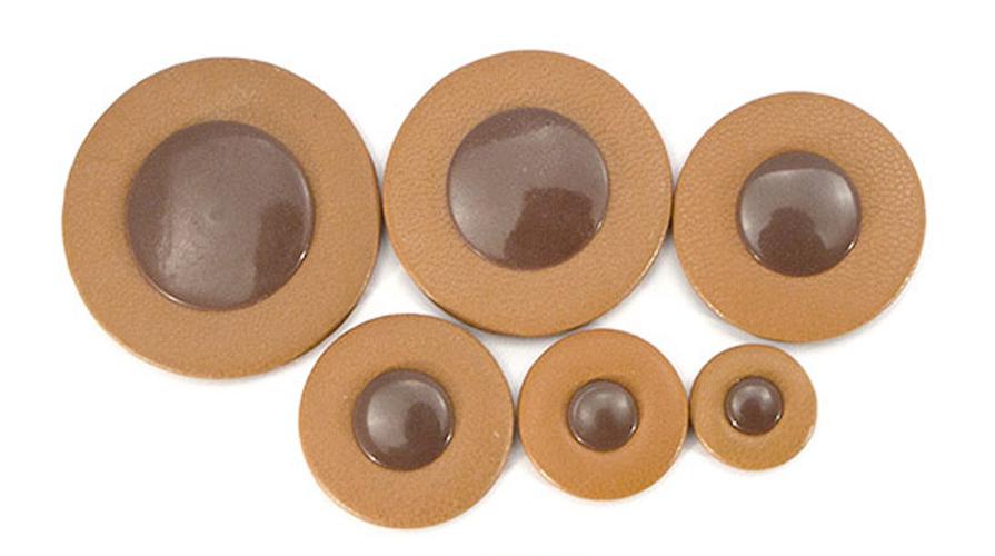 Thin Hard Felt Brown Leather - Brown Plastic Disc Saxophone Pad