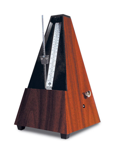 Wittner Metronome - Plastic Pyramid with Bell - Mahogany Finish