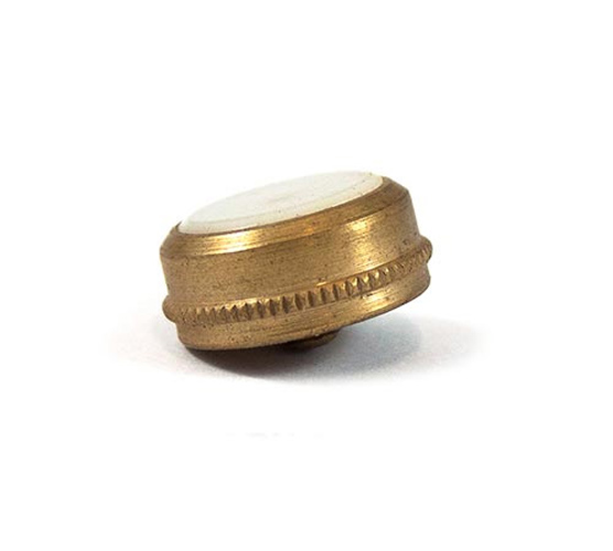 Finger Button - Small Brass - Knurled Edge with Pearl
