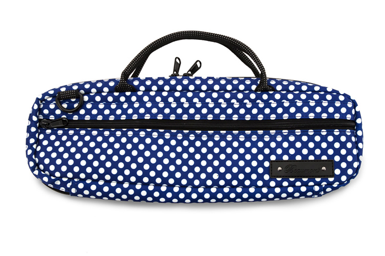 Beaumont C Foot Flute Bag - Blue Polka Dot