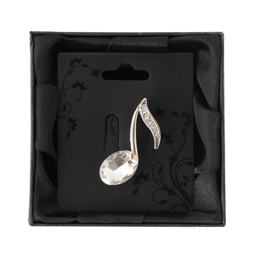 Brooch Small Diamante Quaver Boxed