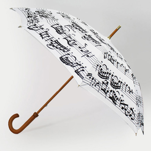 Walking Stick Umbrella White With Black Notes