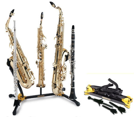Hercules DS538B Double Saxophone Stand with Soprano Sax / Flute / Clarinet Pegs