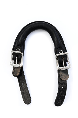 Side Buckle Leather Emergency Handle - Black