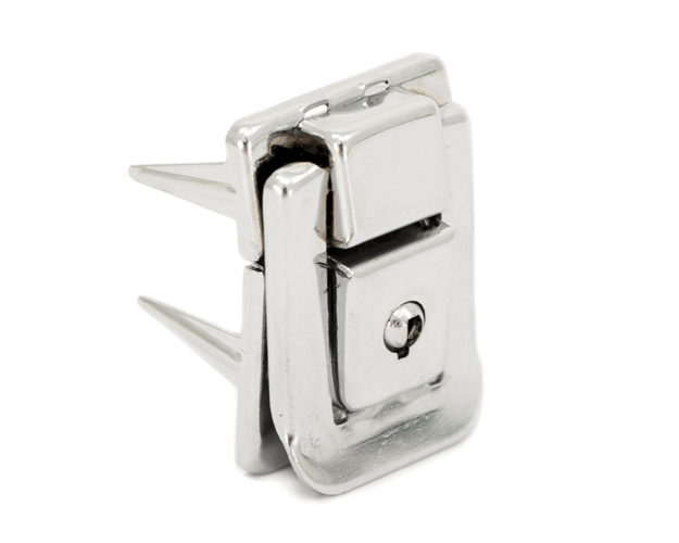 Latch with Lock, Nickel Plate, 25mm x 38 mm