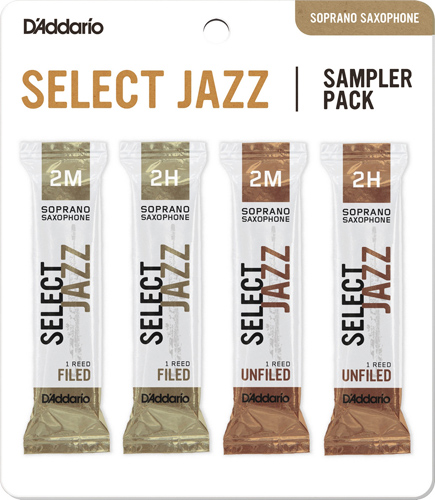 Select Jazz Soprano Saxophone Reed Sampler Pack - Strength 2M and 2H
