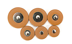 Thin Hard Felt Brown Leather - Flat Metal Disc and Rivet Saxophone Pad