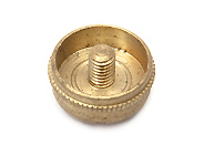 Finger Button - Small Brass - Knurled Edge without Pearl
