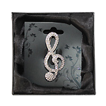 Brooch Large Diamante Treble Clef Boxed