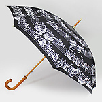Walking Stick Umbrella Black With White Notes