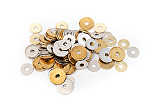 Brass and Nickel Finish Washers for Split Rivets Assortment of 100