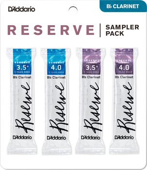 D Addario Reserve Bb Clarinet Reed Sampler Pack - Strength 3.5 Plus and 4